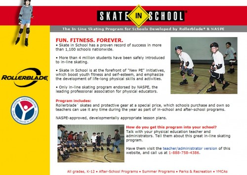 "SkateInSchool.com (Bigger Than ""Blading"")"